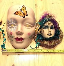 2 Ceramic Wall Decoration Mardi Gras Mask w/Peacock Feather & Jewels