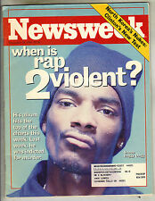 SNOOP DOGG Newsweek Magazine 11/29/93 WHEN IS RAP 2 VIOLENT?