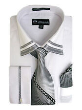 Men's French Cuff Dress Shirt w/ Matching Tie & Hanky Set #28 White