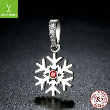 Christmas 925 Sterling Silver Snowflake Fine Charm Beads Dangle Charms Pendant
