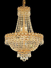 World Capital Empire 16x20 8 Light Pendant Crystal Chandelier Light gold