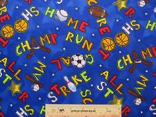 All Star Sports Tossed Baseball Hockey Soccer Cotton Flannel Fabric   BTY  (G) ^