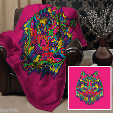 PINK BUNT ETHNISCH WOLF DESIGN VLIES DESIGN WEICH FLEECE DECKE DECKEL