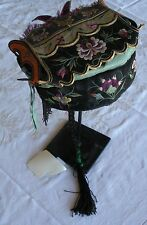 Antique Chinese ceremonial pigtail hat covered with colorful silk embroidery
