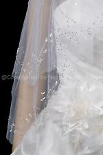 2T Handmade Small Pearl Flower Edge White Fingertip Bridal Wedding Veil H3106