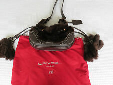 Lancel Fur and leather drawstring handbag dark brown
