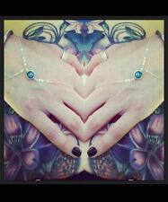 Evil Eye Finger-bracelet/Slave-bracelet/Hand Chain with sterling silver chain. E
