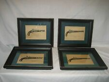 4 Antique Black Distressed Frames with Pictures U. S. Pistols F Mittleman