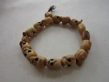 SKULL BRACELET DAY OF THE DEAD BUFFALO BONE CARVED  BEADS JEWELRY