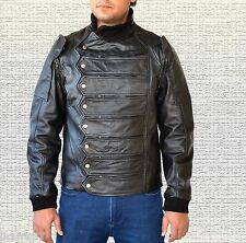 Captain America Winter Soldier Bucky Barnes Handmade Leather Jacket+Vest Black M