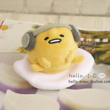 "4"" Sanrio Gudetama Egg Mascot Earphone Plush Stuffed Doll Toy KeyChain Ring"
