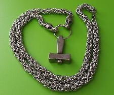 Viking Dragon Chain (70cms) with Uppsala Mjölnir Thor's Hammer Pewter Pendant