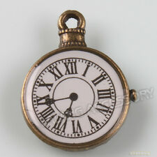 20x Retro Bronze Tone Carved White Clock Charm Pendant 23mm Jewelry Finding Lots