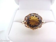 GOLDEN AMBER NATURAL QUARTZ  6.13 CTS  ESTATE VINTAGE 10K GOLD RING