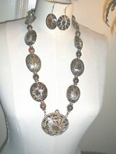LIMPET SHELL NECKLACE & EARRING SET with PILL BOX PENDANT Vintage