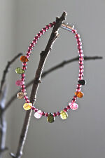 Multicolor tourmaline garnet delicate women bracelet. Natural tourmaline.
