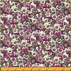 "MAKOWER UK SUMMER GARDEN COTTON LITTLE PANSY FLORAL FABRIC FQ 18"" X22"" #PW"