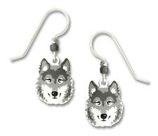 Wolf Earrings - 925 Sterling Silver Ear Wires - Gray Wolf Wild Dog Dangle NEW