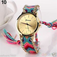 Fashion Women New Geneva Ethnic Braided Analog Quartz  Bracelet Wrist Watch-PL