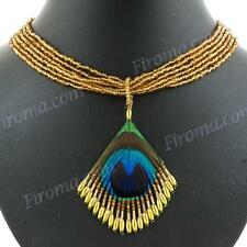 "2 1/2"" COOL PEACOCK FEATHER GOLD BEADS PENDANT necklace"