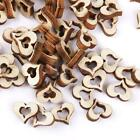 100pcs 10 x 3mm Wooden Blank Hollow Heart Shapes Embellishments DIY Crafts