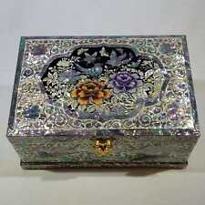 Korean Mother of Pearl Wooden Jewelry Box with Peony, Birds, Butterflies & Crane