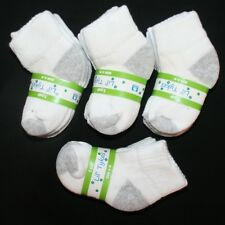 Lot 12 Pair Baby Toddler Boy THICK Ankle Socks Size 6-18 Months White and Gray