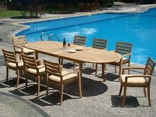 9 PC TEAK STACKING GARDEN OUTDOOR PATIO FURNITURE NEW - TRAVOTA STACKING DECK