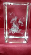 Bevelled Edge Glass 3D Laser Block Paperweight : Flower Fairy - Iris