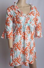 NWT Mudpie Bag Lady Swimsuit Bathing Suit Beach Sheer Coral Print Cover Up S