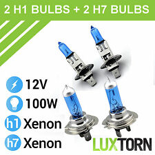 BRAND NEW H1 448 H7 499 12V 100W SUPER WHITE HALOGEN XENON EFFECT HEADLAMP BULBS