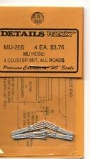 HO SCALE:  DETAILS WEST  265:  MU HOSE...4 CLUSTER SET