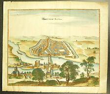 Montereau-Fault-Yonne Faut-Yonne La Seine Le Port Gravure XVIII e réhaussée 36cm