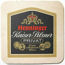 HENNINGER KAISER-PILSNER PRIVAT beer COASTER, Mat, GERMANY 1+