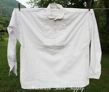 Large US Civil War Reenactors Officers Pleated White Cotton Long Sleeve Shirt L
