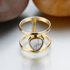 Double Layer Gold Plated Punk Geometric Triangle Marble Faux Stone Finger Rings