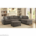Contemporary Linen Gray Fabric Sectional Sofa Chaise Couch Living Room Furniture
