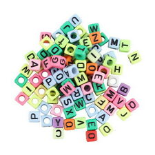 Multi-colored 6mm Alphabet Letter Charms Pony Beads For Loom Bands Bracelet LD