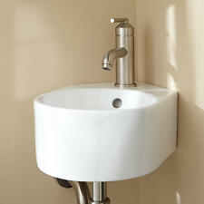 Signature Hardware Adella Corner Porcelain Wall Mount Bathroom Sink