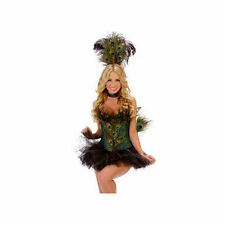 Sexy Starline Peacock Feathered Corset Dress 5pc Costume #T1017 SMALL