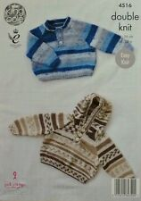 KNITTING PATTERN Baby Long Sleeve Button Neck Jumper & Hoodie DK King Cole 4516