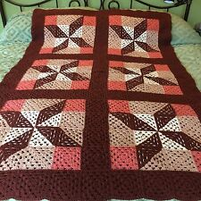 "Hand Crocheted Granny Squares Afghan Throw Blanket Amish Hex Geometric 54"" X 78"""