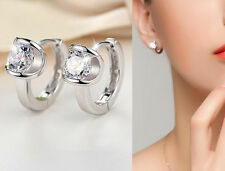 Shiny 925 Sterling Silver Plated Cubic Zirconia Huggie Loop Hoop Earrings Gift