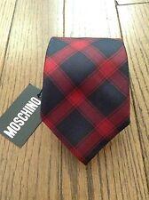 NWT Moschino Red & Blue Christmas plaid 100% Silk tie