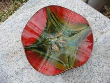 SEETUSEE MAYFAIR Leather Back Red Green Gold Glass Art Dish Plate Tray 8""