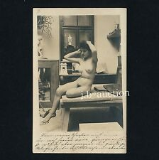 Artist's nude model/acto modelo * rare vintage 1900s photo PC from Austria