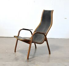 EKSTROM Vtg Mid Century Danish Modern Leather KURVA Lounge Chair Swedese Sweden