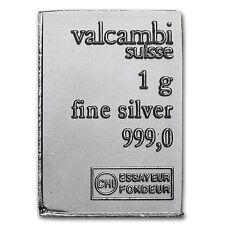 1g (1 gram) of Valcambi Suisse .999 Fine Silver Combi Bar bullion ingot gift