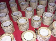 Set 10 MAINE WHITE BIRCH BARK CANDLE LOGS-Rustic Wedding Decor venue Centerpiece
