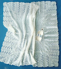 Square Baby Shawl with Diagonal Fern Lace Border  3ply   Knitting Pattern